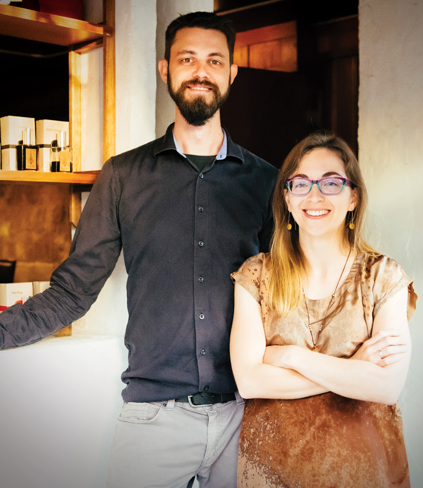 Kevin Peterson (left) and Jane Larson at their retail and bar space in Midtown.