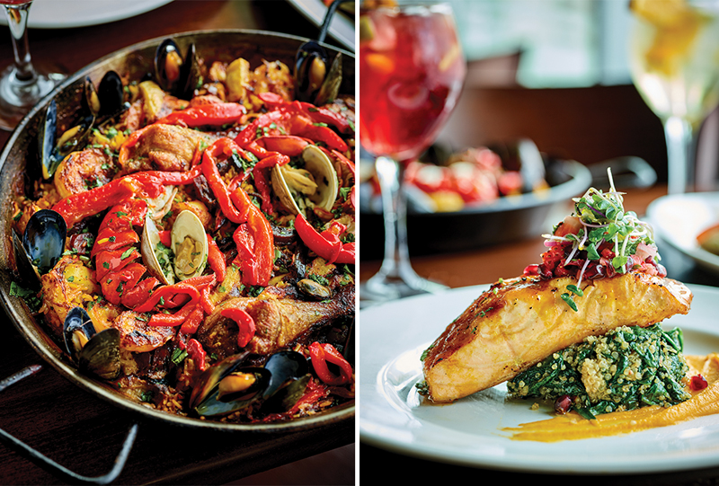 Paella Bolero and Char-Grilled Salmon with spicy mango glaze