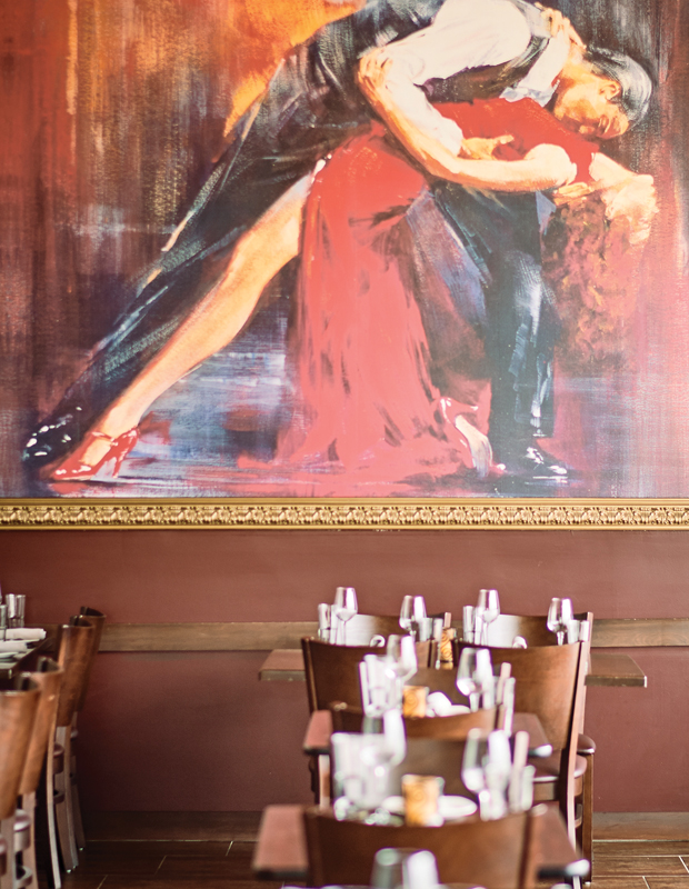 A mural of a pair of Flamenco dancers graces the main dining room.